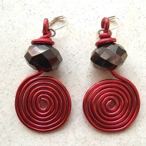 Red Spiral Wire Bling Earrings